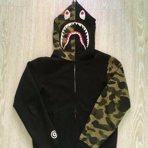 BAPE half camo Shark Hoodie